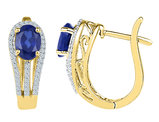 Lab Created Blue Sapphire 2.35 Carat (ctw) Hoop Earrings in 10K Gold with Diamonds 1/4 Carat (ctw)