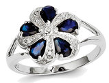 Natural Sapphire Flower Ring 2.00 Carat (ctw) in Sterling Silver