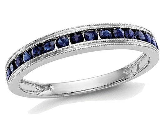 1/4 Carat (ctw) Natural Blue Sapphire Wedding Band Ring in 14K White Gold
