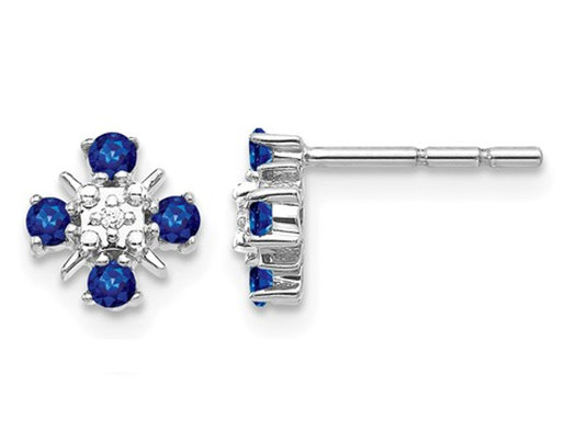 1/3 Carat (ctw) Natural Blue Sapphire Earrings in 14K White Gold