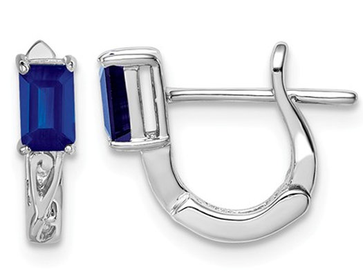 Sterling Silver 1/2 Carat (ctw) Natural Blue Sapphire Hoop Earrings