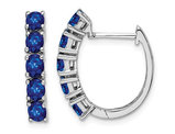 2.00 Carat (ctw) Natural Blue Sapphire Hinged Hoop Earrings in Sterling Silver