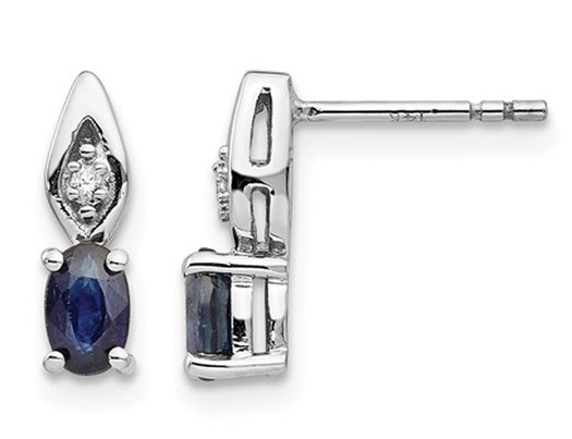 1/2 Carat (ctw) Natural Dark Blue Sapphire Post Earrings in 14K White Gold