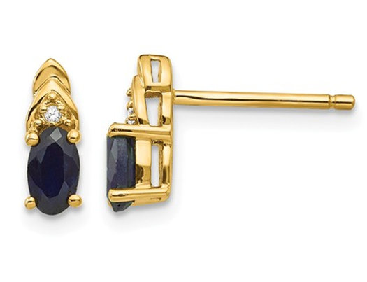 1/2 Carat (ctw) Natural Dark Blue Sapphire Post Earrings in 14K Yellow Gold