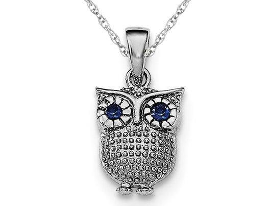 Sterling Silver Lab Created Blue Sapphire Owl Pendant Necklace with Chain