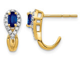7/10 Carat (ctw) Natural Blue Sapphire Earrings in 14K Yellow Gold with Accent Diamonds