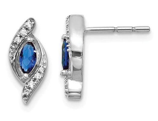 1/3 Carat (ctw) Natural Blue Sapphire Post Earrings in 14K White Gold