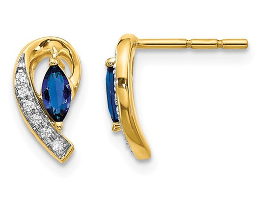 1/3 Carat (ctw) Natural Blue Sapphire Post Earrings in 14K Yellow Gold