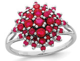 1.20 Carat (ctw) Natural Ruby Cluster Ring in Rhodium Plated Sterling Silver
