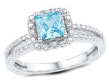 1.00 Carat (ctw) Lab Created Blue Topaz Solitaire Ring in Sterling Silver