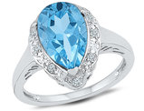 2.25 Carat (ctw) Lab Created Teardrop Blue Topaz Ring in Sterling Silver