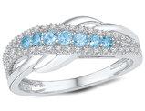 Lab Created Blue Topaz Ring 1/4 Carat (ctw) with Diamonds 1/8 Carat (ctw I-J, I2-I3) in 10K White Gold
