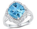 5.00 Carat (ctw) Lab Created Blue Topaz Ring with Diamonds 1/6 Carat (ctw J-K, I2-I3) in 10K White Gold