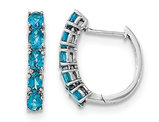 2.00 Carat (ctw) Blue Topaz Hoop Earrings in Sterling Silver
