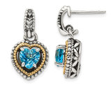 2.00 Carat (ctw) Blue Topaz Heart Earrings in Sterling Silver with 14K Gold Accent