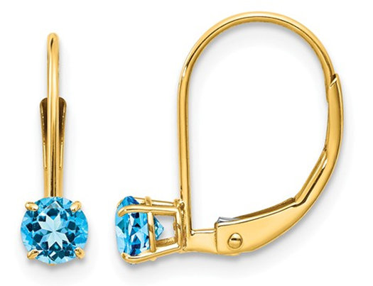 2 3 Carat Ctw Natural Blue Topaz Leverback Earrings In 14k Yellow Gold
