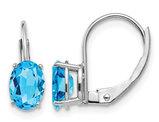 2.00 Carat (ctw) Natural Blue Topaz Leverback Earrings in 14K White Gold