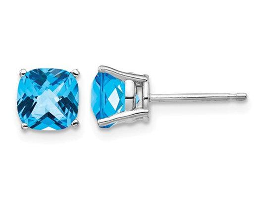95d36d6fda87 2.00 Carat (ctw) Natural Cushion Cut Blue Topaz Stud Earrings in 14K White  Gold - Gem   Harmony