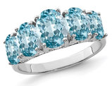 4.00 Carat (ctw) Swiss Blue Topaz Five Stone Ring in Sterling Silver