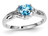 2/3 Carat (ctw) Natural Swiss Blue Topaz Heart Ring in Sterling Silver