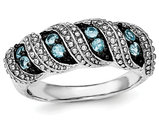 1/3 Carat (ctw) Swiss Blue Topaz Ring in Sterling Silver and Black Rhodium