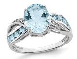 4.40 Carat (ctw) Natural Swiss Blue Topaz Ring in Sterling Silver