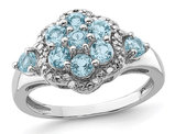 1.35 Carat (ctw) Swiss Blue Topaz Cluster Ring in Sterling Silver