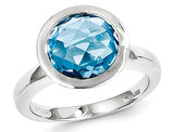 4.00 Carat (ctw) Natural Round Blue Topaz Ring in Sterling Silver