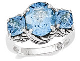 6.00 Carat (ctw) Swiss Blue Topaz Three Stone Ring in Sterling Silver