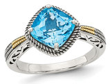 2.70 Carat (ctw) Swiss Blue Topaz Ring in Sterling Silver with 14K Gold Accent