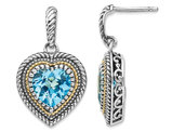 5.75 Carat (ctw) Swiss Blue Topaz Dangle Heart Earrings in Sterling Silver with 14K Gold Accent