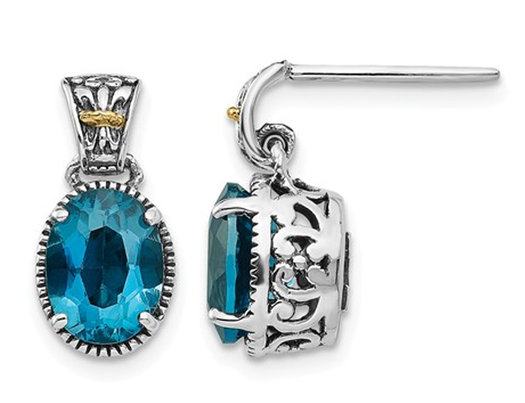 3.20 Carat (ctw) London Blue Topaz Dangle Post Earrings in Sterling Silver with 14K Gold Accent