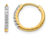 Diamond Hoop Hinged Earrings in 14K Yellow Gold (.14 Carats ctw I2-I3)