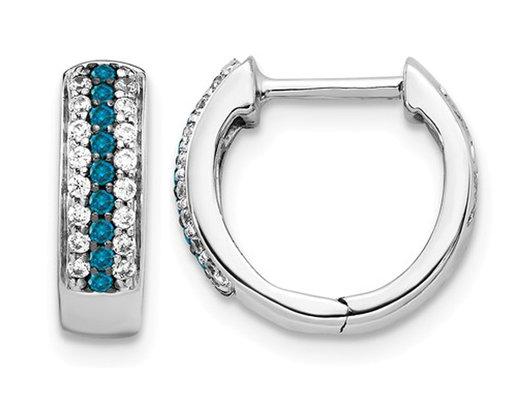 1/4 Carat (ctw) Blue and White Diamond Huggie Hoop Earrings in 14K White Gold