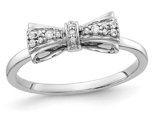 14K White Gold Diamond Bow Promise Ring 1/12 Carat (ctw Color H-I, I2-I3)