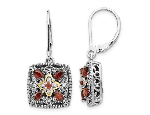 7/10 Carat (ctw) Garnet Dangle Earrings in Sterling Silver 14K Gold Accents