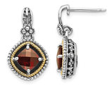 2.00 Carats (ctw) Natural Garnet Dangle Earrings in Sterling Silver with 14K Gold Accents