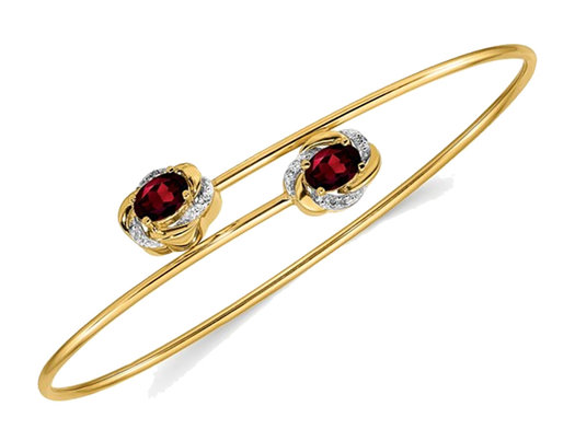 14K Yellow Gold Natural Garnet Bangle Bracelet with Diamond Accents