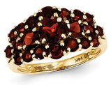 3.50 Carat (ctw) Red Garnet Cluster Ring in 14K Yellow Gold