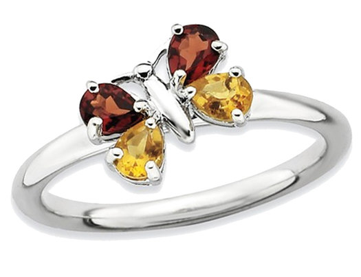 Sterling Silver Butterfly Garnet and Citrine Ring 3/4 Carat (ctw)