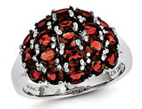 3.90 Carat (ctw) Red Garnet Cluster Ring in Sterling Silver