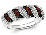 Natural Garnet Fashion Band Ring 2/5 Carat (ctw) in Sterling Silver