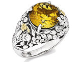 Sterling Silver with 14K Gold Accents Antiqued Citrine Ring 5.00 Carat (ctw)