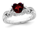 Natural Garnet Promise Heart Ring 1.25 Carat (ctw) in Sterling Silver