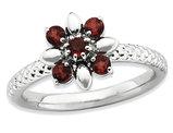 Natural Garnet Flower Ring 2/3 Carat (ctw) in Sterling Silver