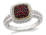 Natural Red Garnet Cluster Ring 3/10 Carat (ctw) in Sterling Silver with Black Rhodium