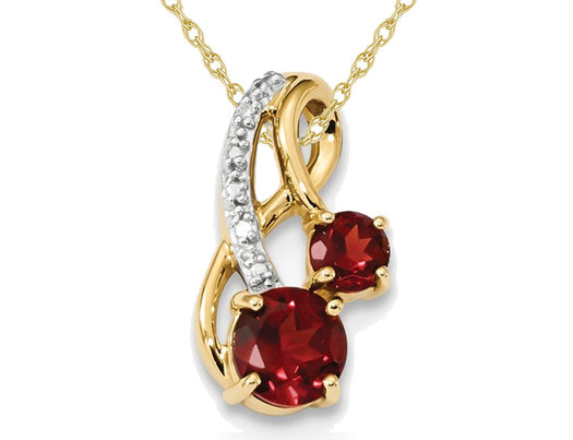 1.30 Carat (ctw) Mozambique Garnet Pendant Necklace in 14K Yellow Gold with Chain
