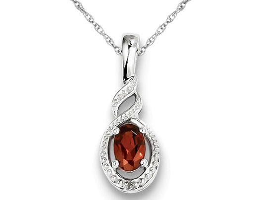 Natural Red Garnet 1/2 Carat (ctw) Pendant Necklace in Sterling Silver with Chain