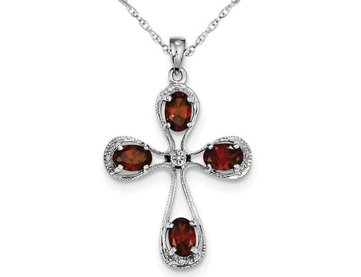 2.00 Carat (ctw) Garnet Cross Pendant Necklace in Sterling Silver with Chain
