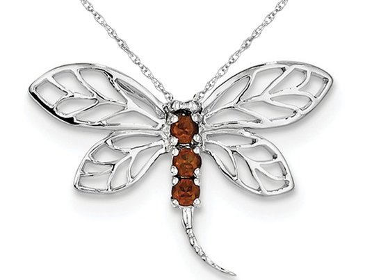 Natural Garnet 1/5 Carat (ctw) Dragonfly Pendant Necklace in Sterling Silver and Chain